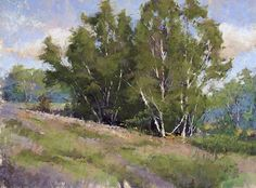 Birch Stand Near Hanover by Jacob Aguiar, Pastel, 12 x 16 Beautiful Landscape Paintings, Pastel Landscape, Paintings I Love, Landscape Art, Pastel Paintings, Oil Painting Trees, Image Painting, Soft Pastel Art, Pastel Drawing