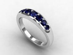 Blue sapphire ring, sapphire wedding, White gold, Blue wedding, wedding ring, half eternity, Sapphire. via Etsy