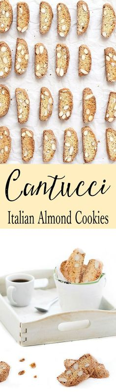 Cantucci are crunchy almond cookies from Tuscany. Very easy recipe, no butter and no oil! 81 cal.