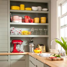 i miss my yellow & red kitchen...this isn't mine...would love a kitchen aid stand up mixer!