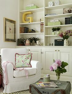 These shelves are a nice way to bring in color through accessories and can be changed out seasonally.