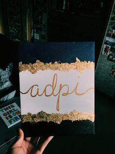 Used gold foil flakes and Modge Podge. Used gold foil flakes and Modge Podge. Alpha Phi Omega, Kappa Alpha Theta, Phi Mu, Chi Omega, Delta Gamma Canvas, Alpha Chi, Sorority Crafts, Theta Crafts, Sorority Paddles