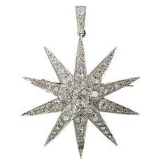 Victorian 2.13 Carat GIA Cert Center Diamond Platinum Star Brooch Pendant