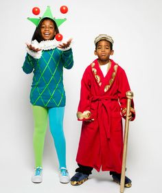 Halloween Costume Idea: Kids in jester and king costumes