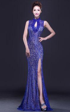 Blue floral lace sleeveless modern single slit mermaid qipao dress | Red Chinese Dress