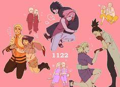 The Couples: SasuSaku, NaruHina, ShikaTema, MinaKushi, InoSai, ChoKaru ♥♥♥ Haha :)) Temari and Sakura are badass