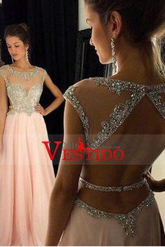 2016 mangas casquillo de vestidos de baile de la cucharada de una línea de gasa con partida de longitud US$ 169.99 VEPJKA5KNN - 2016vestido.com
