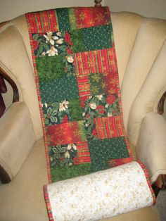 Christmas Table Runner Extra Long Red Green by DesignsbyJuliAnn, $80.00