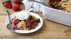Strawberry-Rhubarb Dump Cake - Made with only six ingredients and the help of Betty Crocker™ cake mix, this dump dessert is weeknight- and crowd-friendly! Rhubarb Dump Cakes, Rhubarb Cobbler, Dump Cake Recipes, Dessert Recipes, Frosting Recipes, Easy Desserts, Delicious Desserts, Spring Desserts, Dump Meals