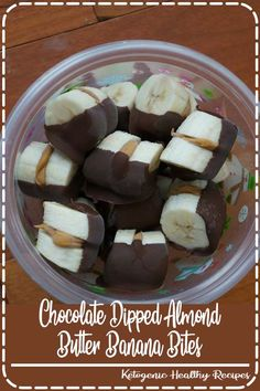 Frozen Chocolate-Dipped Peanut Butter Banana Bites - quick and easy healthy snack! (Think of using Nutella instead! Healthy Drinks, Healthy Snacks, Healthy Recipes, Healthy Slice, Healthy Options, Yummy Snacks, Dessert Healthy, Fruit Dessert, Dessert Dishes