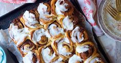 Soft, fluffy cinnamon rolls topped with rich vanilla icing.