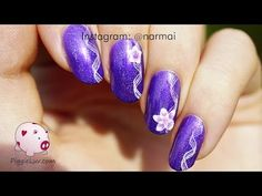 Simple ribbon with flowers nail art tutorial - YouTube