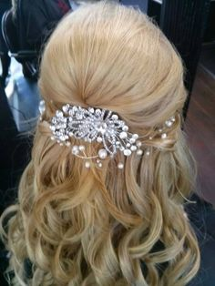 Wedding Hair-Half Up Half Down. Sliver plated wire with genuine fresh water pearls and Swarovski Elements crystal hair comb