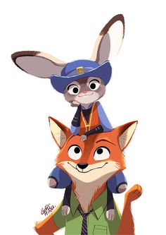 Disney's Zootopia - introducing Nick Wilde ( Fox ) and Judy Hopps ( Rabbit )