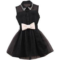 Lovaru Women's Pearl Rhinestone Lapel Gauze tutu Dress with Bow Belt... ($3.99) ❤ liked on Polyvore featuring dresses, rhinestone dress, bow dress, gauze dresses, pearl dress and white pearl dress