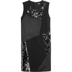 DKNY Patchwork Dress (1.765 RON) ❤ liked on Polyvore featuring dresses, black, slimming dresses, anchor dress, beaded dress, black shift dress and sequin dress