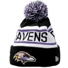 775499a3a53 Mens Baltimore Ravens New Era Black Biggest Fan Redux Knit Beanie Baltimore  Ravens Hat