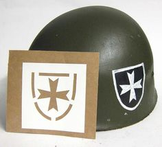 "Korean War 65th Infantry Regiment ""The Borinqueneers"" Helmet Stencil. This is the only stencil for ""The Borinqueneers"" worn in the Korean War. They are a Puerto Rican regiment of the United States Army. The 65th Infantry Regiment participated in World War I, World War II and the Korean War & still serve today. This the Korean War version of the stencil worn on the left of the helmet. The Third infantry stencil was worn on the right hand side.  www.WarHats.com"