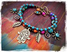 HAMSA HAND BRACELET Fatima bracelet Ethnic Tranquility door GPyoga, $49,00