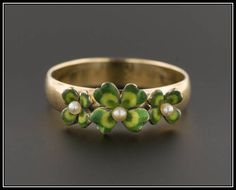 10k Gold Enamel Clover Ring | Antique Pin Conversion Ring | 10k Gold Ring | Enamel Ring | Four Leaf Clover Ring by TrademarkAntiques on Etsy https://www.etsy.com/listing/514350552/10k-gold-enamel-clover-ring-antique-pin