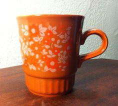 Vintage Kiln Craft Burnt Orange Floral Mug English by rubysred