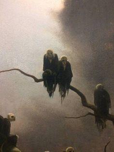 Franz Sedlacek - Ghosts on a Tree - 1933 kunst, Color & Light Fantasy Kunst, Dark Fantasy Art, Arte Horror, Horror Art, Arte Obscura, Macabre Art, Illustration Art, Illustrations, Creepy Art