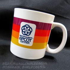 Vintage Rainbow Striped Disney World Epcot Center Coffee Mug Cup 1980s LOGO #Disney