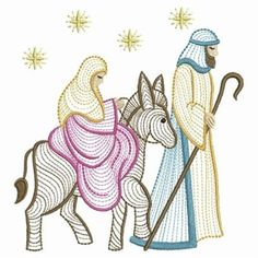 Ace Points Embroidery Design: Rippled Nativity Scene 3.84 inches H x 3.62 inches W