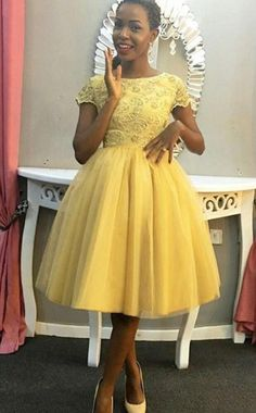 Unique Prom Dresses, Jewel Short Sleeve Ball Gown Tulle Pleated Knee Length Appliques Homecoming Dresses, There are long prom gowns and knee-length 2020 prom dresses in this collection that create an elegant and glamorous look African Print Fashion, African Fashion Dresses, African Dress, Homecoming Dresses, Bridesmaid Dresses, Prom Gowns, Bridesmaids, Short Dresses, Formal Dresses