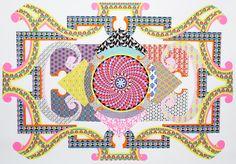 Carolina Ponte  Sem título  2010  acrílica, caneta e nanquim sobre papel colado em tela  140 x 210 cm