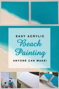 Easy Acrylic Beach Painting anyone can make! Canvas Painting Tutorials, Acrylic Painting For Beginners, Simple Acrylic Paintings, Acrylic Painting Techniques, Step By Step Painting, Beginner Painting, Diy Painting, Blue Painting, Drawing Techniques