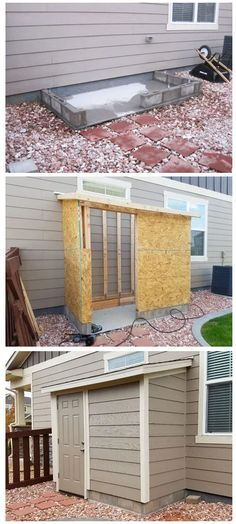 Building a DIY Storage Shed from Scratch for Landscaping, Other Tools Outdoor Projects, Home Projects, Diy Backyard Projects, Backyard Patio, Backyard Landscaping, Diy Shed Plans, Backyard Makeover, Backyard Storage Sheds, Diy Storage Outdoor