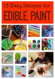 eetbare verf: 13 DIY Edible Paint Recipes for Babies Toddlers and Big Kids from Lalymom Toddler Play, Baby Play, Toddler Preschool, Toddler Crafts, Preschool Art, Baby Crafts, Baby Toys, Craft Activities For Kids, Infant Activities