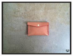 "Seaminglyartful  small envelope pouch Handmade, literally handsewn veggie leather. dimensions 6"" X 4"""