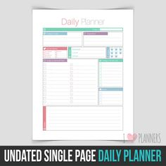 Printable Daily Planner  Pink  Gold  Agenda  Sparkle