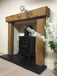 solid rustic oak beam fire surround with 54 mantle - various mantles to choose in Home, Furniture & DIY, Fireplaces & Accessories, Mantelpieces & Surrounds Wood Burner Fireplace, Concrete Fireplace, Fireplace Mantle, Fireplace Surrounds, Wooden Fireplace Surround, Fireplace Ideas, Wooden Fire Surrounds, Fireplace Suites, Craftsman Fireplace