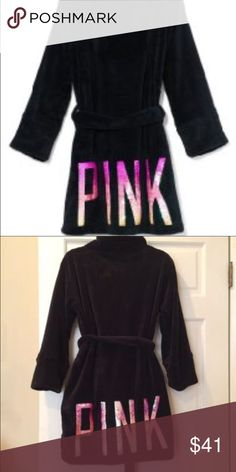 Pink VS black bathrobe💕 NWOT SIZE XS, like all pink clothing it fits bigger sizes! PINK Victoria's Secret Other