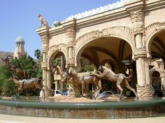 Trickling streams and fountains with ornate statues adorn Sun City. Tourism In South Africa, Sun City South Africa, New Africa, East Africa, Sun City Resort, Places Around The World, Around The Worlds, Holiday Resort, Lost City