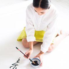 We love this action shot of @linana_photo wearing the Geo Eyelet Skirt in her studio. #loveloft