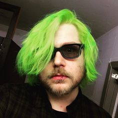 from The Data Bats uses so that his hair under black light while he performs on stage! Green Hair Men, Manic Panic Hair Dye, Just Amazing, Awesome, Coloured Hair, Unicorn Hair, Professional Makeup, Real People, Dyed Hair