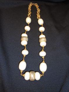 "Vtg Gold tone Beads & Ivory Cream Lucite Glass Beaded Necklace 12"" Statement #Unbranded #StatementNecklaceGoldtoneIvoryCreamBead"