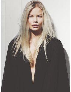 Model blonde long straight hair