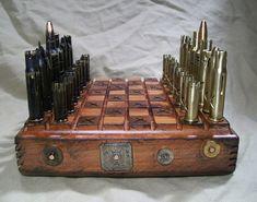 STEAMPUNK BULLET SHELL chess set-mixed calibers