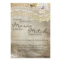 Rustic Lace Distressed Wedding Invitation #wedding favors, #bridal shower favors, #party favors, #personalized favors, #decorations, #bridesmaids gifts, #bridal party gifts, #wedding supplies, #timelesstreasure