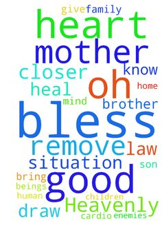 Oh Heavenly Father ,you know my situation. Please Lord - Oh Heavenly Father ,you know my situation. Please Lord ,open door for me. Bless and heal my mother Remove the believe of witchcraft from my mothers mind and heart. Heal my mother in law give her strength and peace.. Bless my daughter with wisdom and knowledge. Keep her away from disease bad company and wrong path. Fulfill her desire of heart to become a cardio surgeon. Bring one buyer for the my property.Change my brother in law Remove…