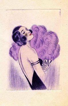 Illustration - flapper with feather fan by LADY_VIOLA Art Nouveau, Mode Vintage, Vintage Art, Belle Epoque, Art Quotidien, Vintage Magazine, Art Deco Illustration, 1920s Art, Art Deco Fashion
