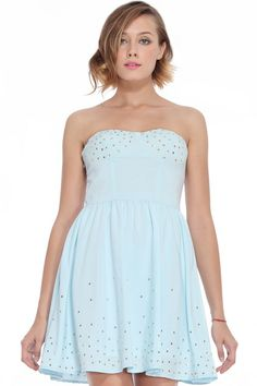 ROMWE | Golden Stars Embellished Blue Bandeau Dress, The Latest Street Fashion