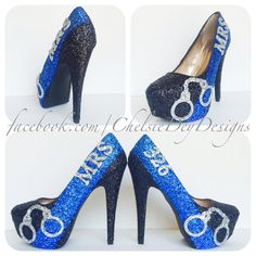 Police Officer Badge Number Handcuff Glitter High Heels - pinned by pin4etsy.com