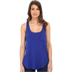 LAmade Boyfriend Tank w/ Pocket Women's Sleeveless, Blue ($15) ❤ liked on Polyvore featuring tops, blue, relaxed fit tops, sleeveless tank tops, boyfriend top, sleeveless tops and blue singlet