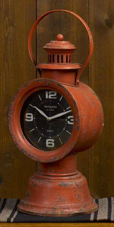 Red railroad clock